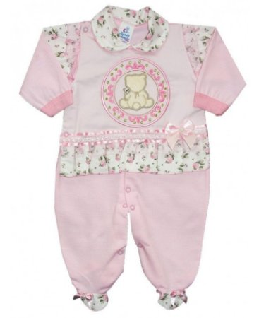 Macacão Ursinha - Rosa bebê