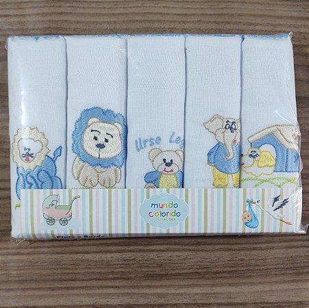 Fraldas Bordadas - 5 peças Azul bebê