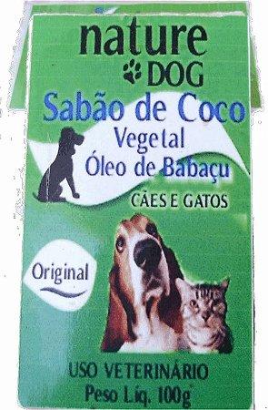 SABÃO DE COCO PARA CÃES E GATOS VEGETAL  COM ÓLEO DE BABAÇU NATURE DOG  - 100G