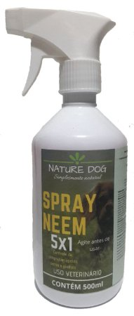 SPRAY ANTIPULGAS PARA CÃES NATURE DOG - (5X1) PULGAS,CARRAPATOS,SARNAS,PIOLHOS E AMBIENTES 500ML