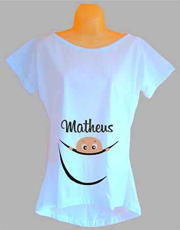 Camiseta Para Grávida e Gestante Personalizada com o nome do bebê
