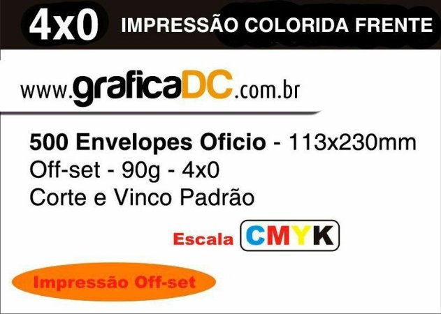 500 Envelopes Oficio - 113x230mm Off-set - 90g - colorido - Corte e Vinco Padrão