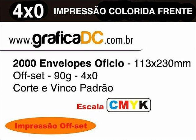 2000 Envelopes Oficio - 113x230mm Off-set - 90g - colorido frente- Corte e Vinco Padrão