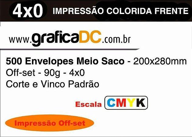 500 Envelopes Meio Saco - 200x280mm Off-set - 90g - colorido - Corte e Vinco Padrão