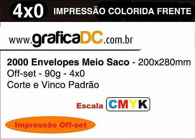 2000 Envelopes Meio Saco - 200x280mm Off-set - 90g - colorido frente - Corte e Vinco Padrão