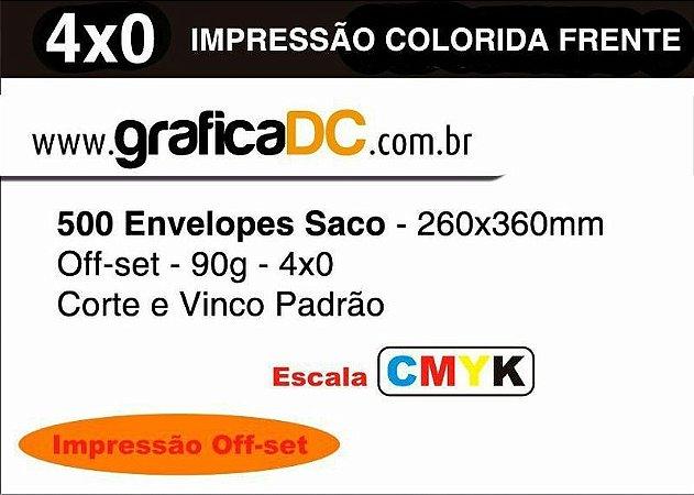 500 Envelopes Saco - 260x360mm Off-set - 90g - 4x0 colorido CMYK Corte e Vinco Padrão