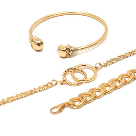 Pulseiras Kit Luxo Caveira Dourada