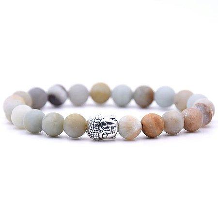 Pulseira Buda Jade Branca Fosca (Pedra Natural)