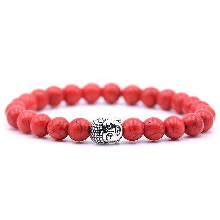 Pulseira Buda Jade Vermelha (Pedra Natural)