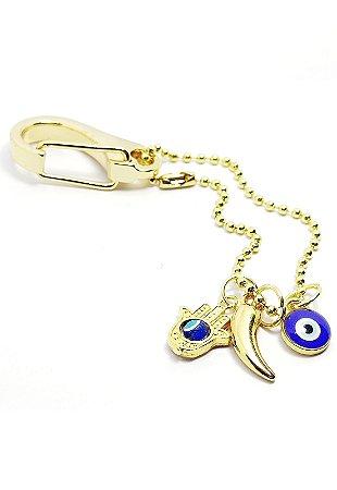 Chaveiro dourado Olho Grego LUXO