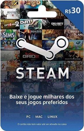 Cartão Pré-Pago Steam R$30,00