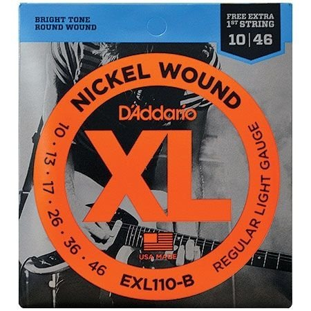 ENCORDOAMENTO PARA GUITARRA D'ADDARIO EXL110-B 6 CORDAS REGULAR LIGHT .010-.046 - CORDA MI EXTRA