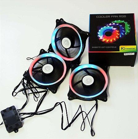 Kit Fan Cooler Newdrive 3x120mm RGB com Controle