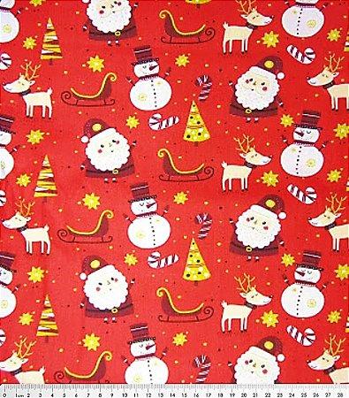 Tecido Tricoline Papai Noel e Decorações Natalinas - Fundo Vermelho