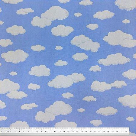 Tecido Tricoline Nuvens - Fundo Azul Claro