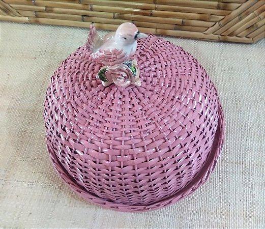 Boleira vime rose com aplique de pássaro  D=35 cm H=22 cm