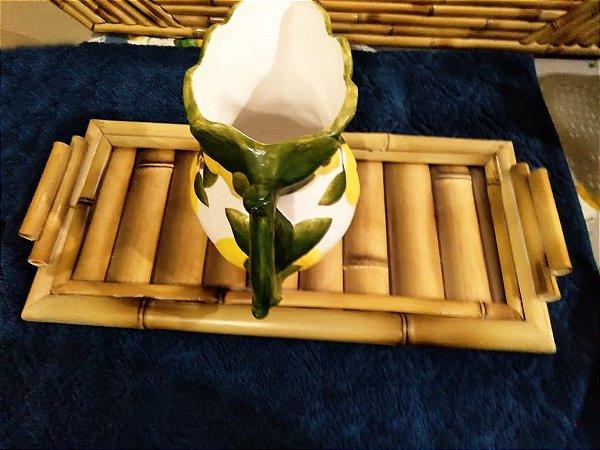 Bandeja Trancoso M em bambu. Fundo com estampa de bambu e vidro resistente. 43x20 cm