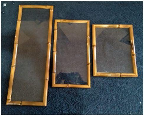 Bandeja Jericoacoara M em bambu com Vidro retangular, vidro resistente 41X20