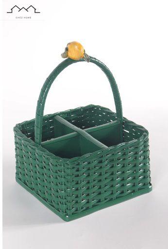 Porta talher  quadrado  em vime verde FOLHA e aplique limão siciliano