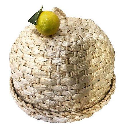 150 - Boleira palha natural limão siciliano H=16 cm  D= 35 cm