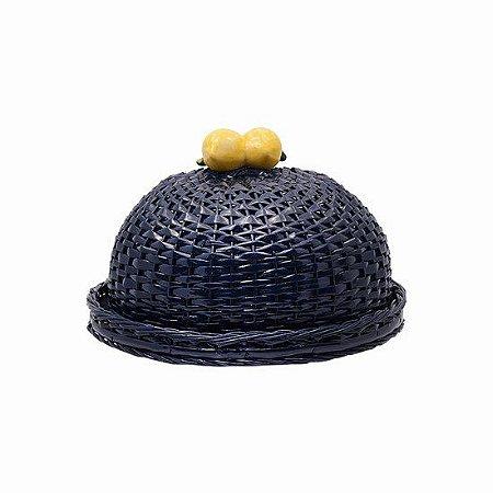 Boleira azul marinho em vime com dois limão siciliano
