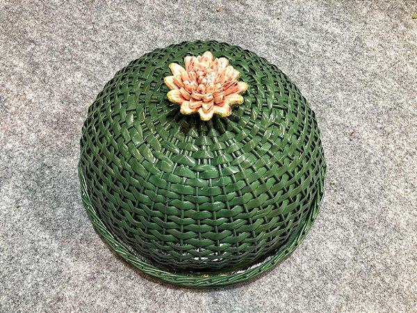104 - Boleira verde flor  H= 16cm D=35 cm