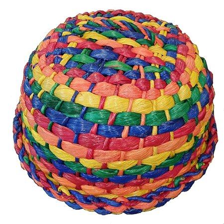 149 - Boleira palha colorida H=15 cm, D= 30 cm