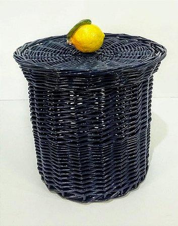 144 - Lixeira azul marinho limão siciliano H=19 cm, D=14 cm