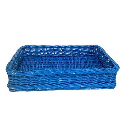 134b - Bandeja P Azul vivo/claro H=7 cm, L= 23,5 cm, C= 34 cm