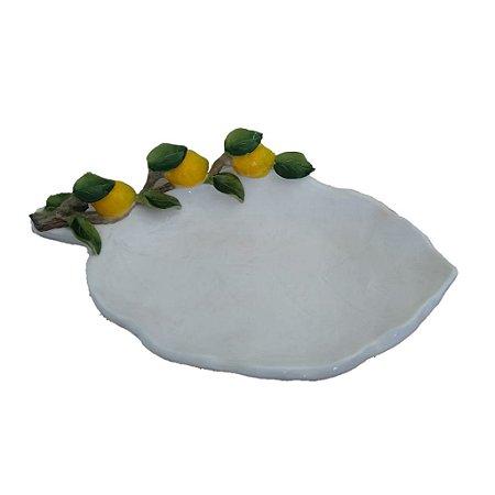 439 - Petisqueira com limão siciliano H= 6,5, C=31 cm, L=18,5 cm