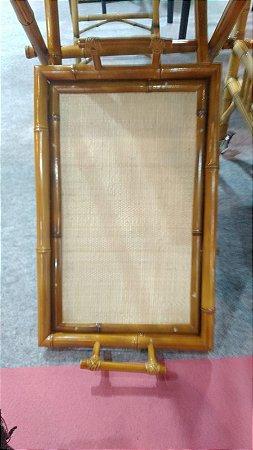 Bandeja dupla natural bambu escurecido 60x36 cm