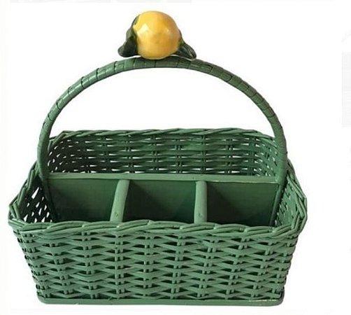 Porta talheres em vime verde e limão siciliano