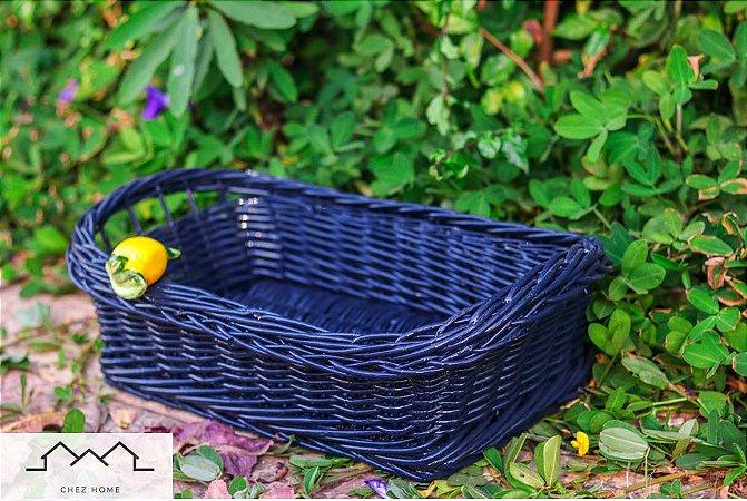Porta pães azul em vime e limão siciliano