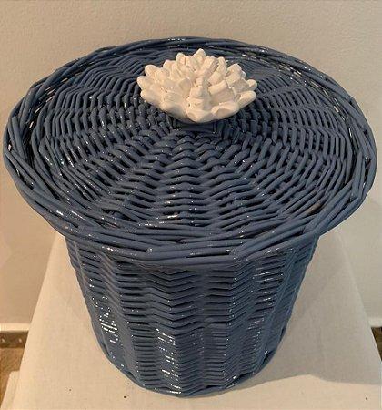 144 - Lixeira coral lflor branca  H=19 cm, D=14 cm
