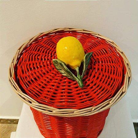 903- Lixeira coral com limão siciliano  H=19 cm, D=14 cm