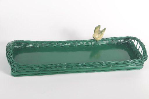 Bandeja Retangular lateral baixa verde com pássaro