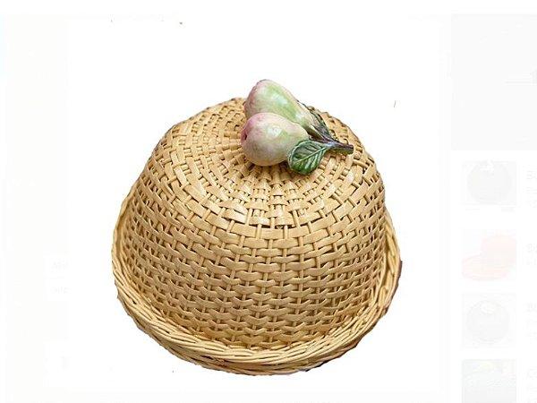 Boleira Vime natural com aplique em Pera  cerâmica