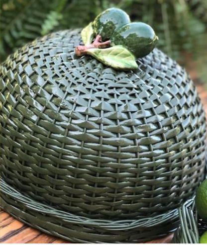 Boleira verde em vime com duplo limão D=35 x H=15 cm