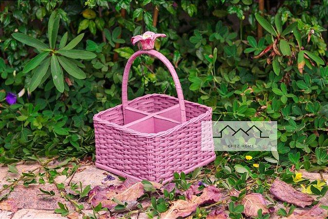 Porta Talheres quadrado Rosê C/aplique de flor