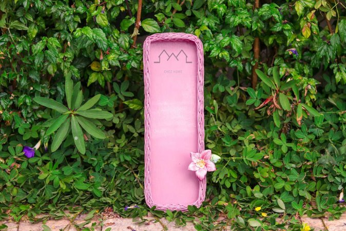Porta Baquete vime rosê com flor