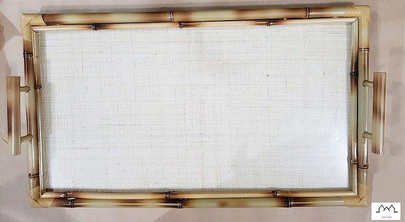 Bandeja GG(70x40cm) em bambu natural C/ Palha Clara  e vidro