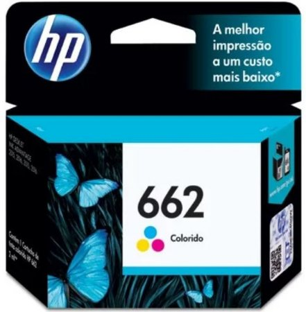 Cartucho de Tinta Original da HP 662 Colorido Tricolor CZ104ab 2ml hp662 | Deskjet Ink Advantage 1516 2516 2546 2646 3516 3546 4646