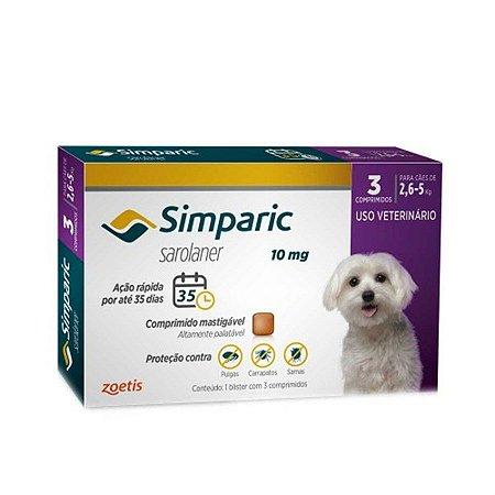 Simparic 10 mg 2,6 a 5 Kg 3 Comprimidos