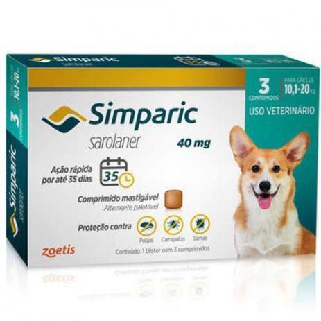 Simparic 40 mg  10 a 20 Kg 1 Comprimido
