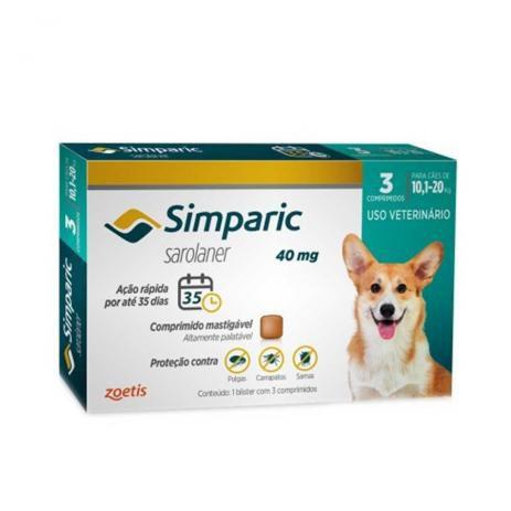 Simparic 40 mg  10 a 20 Kg 3 Comprimidos