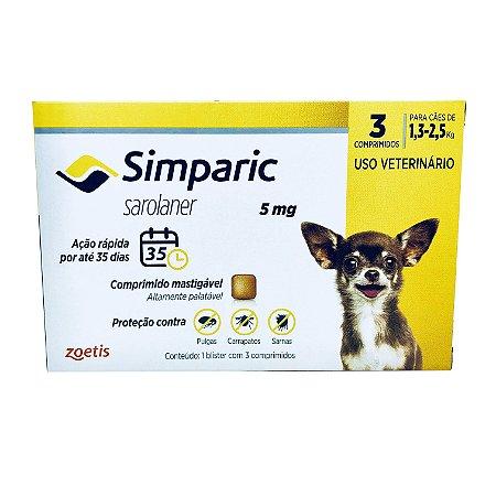 Simparic 05 mg 1,3 a 2,5 Kg 3 Comprimidos