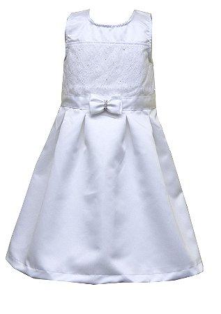 Vestido em Tecido Acetinado Duplo com Detalhes em Renda e Laço Branco