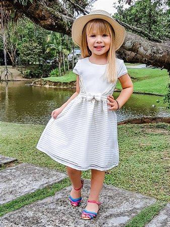 Vestido Infantil Menina Laço Bege