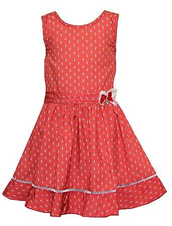 Vestido em Tecido Plano Estampado Naval Vermelho