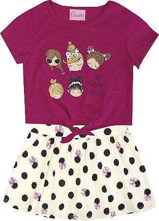 Conjunto com  Blusa em Meia Malha Estampada Meninas e Saia Shorts Rosa